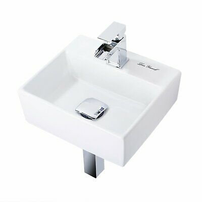 Modern Small Square Corner Ceramic Compact Wall Mounted Bathroom Basin Sink • 34.99£