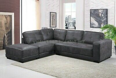 * NEW * Carlton Large Grey Leather Corner Sofa With Footstool LeftHand Facing • 779£
