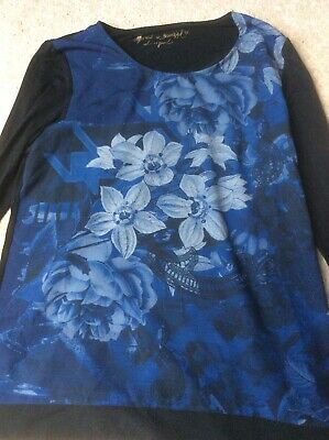 DESIGUAL Top Long Sleeve Black And Navy Floral Print Size L GC • 2.90£