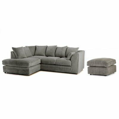 Chicago New Jumbo Cord Corner Sofa 2 3 Seater Left/Right Hand Swivel 5 Colours  • 495£