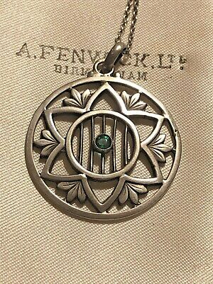 Antiuqe Edwardian Silver Pendant With Green Paste Rare Collectable 1900s • 7.50£