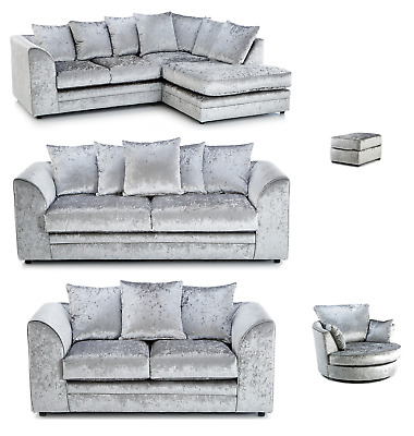 New Chicago Crushed Velvet Corner Sofa Sale 2 3 Seater Left/Right Hand 3 Colours • 549£