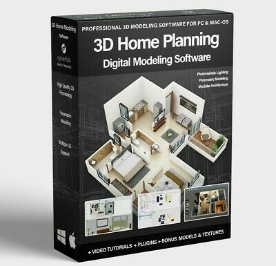 3D Home Planning CAD Software For Modeling Kitchen Bathroom Blueprint Design PC • 14.95£