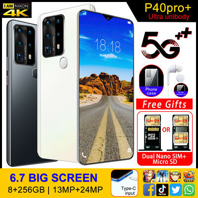 P40pro+ 8+256G 6.7  Smartphone Unlocked Android 13+24MP Dual Sim Card Mobile • 85.99£