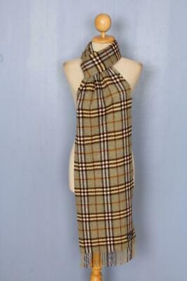 BURBERRY Scarf Green Check Cashmere Authentic • 23£