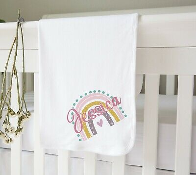 Personalised White Cotton Soft Baby Crib Nursery Pram Blanket - Rainbow Name • 22£