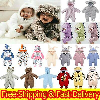 Newborn Baby Boy Girl Hoodie Bodysuit Bear Romper Jumpsuit Fleece Outfits Comfy • 9.69£