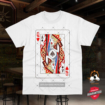 Queen Of Hearts Ace Of Spades Illustration Card Cool Gift Top Tee TShirt 0885 • 7.99£
