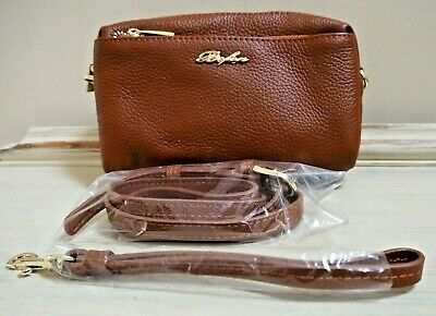 Tan Leather Cross Body Or Wristlet Organizer Bag 3 Zip Sections Adjustable Strap • 20£