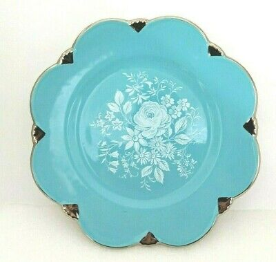 $ CDN15.99 • Buy MP.  Royal Winton  Grimwades Turquoise Blue White Floral Silver Trim Plate 8