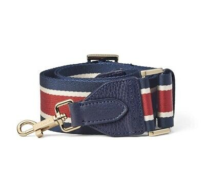 Aspinal Of London BNWT Navy, White & Red Striped Webbing Bag Strap • 54.99£