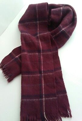 $24.99 • Buy Vintage Cashmere Feel Acrylic Mens Scarf 12.5 X 52  Burgundy Plaid Made In Japan