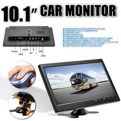 10.1   Inch Car Monitor HD 1080P LCD CCTV HDMI / BNC / AV / VGA With Speaker UK • 52.99£