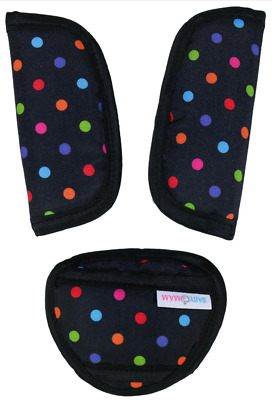 Car Seat Strap Covers & Crotch Pad 3 Piece Baby Stroller Colourful Dots On Black • 3.99£