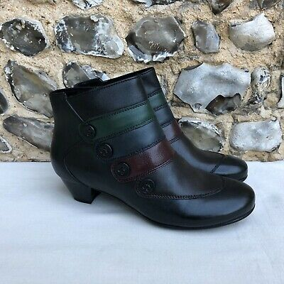 Womens New Pavers Ankle Boots Heel Zip Up Heeled UK 6 EU 39 Black Leather  • 29.99£