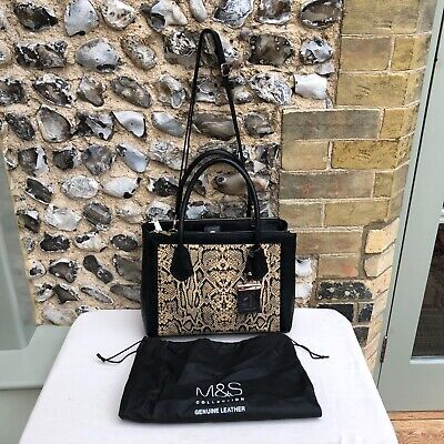 M&S Autograph Messenger Bag Underarm Leather Zip Up Medium Snake Pattern Black • 34.99£