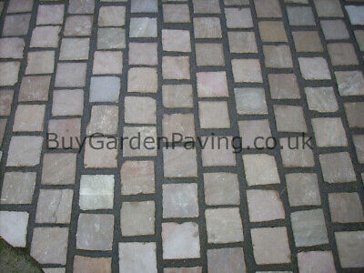 Raj Green Natural Indian Sandstone Cobble Setts 100x100 40mm+ *Nationwide* • 2.99£