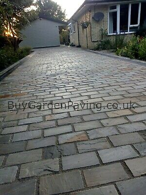 Raj Green Natural Indian Sandstone Cobble Setts 200x100 40mm+ *Nationwide* • 2.99£