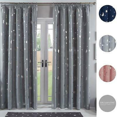 Dreamscene Galaxy Star Pencil Pleat Blackout Pair Curtains Thermal Ready Made • 13.99£