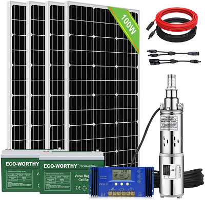 Solar Photovaltaic Water Pump Deep Well Submersible Borehole Pump Battery Kit • 598.50£