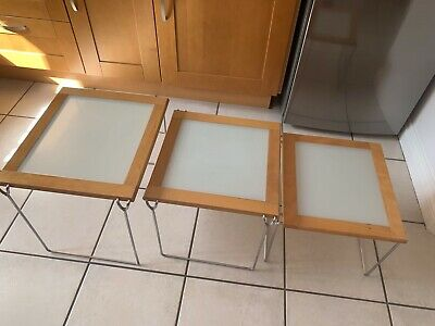 Light Beech And Glass Nest Of Three Tables • 10£