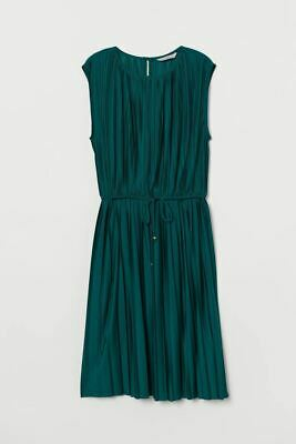 H&M Emerald Green Pleated Grecian Style Dress (S) • 8£