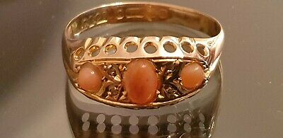 Wow Antique  9 Carat Rose Gold Ring Set With Natural Pink Coral & Diamond Size T • 165£