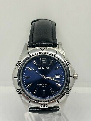 Accurist Classy Men's Stainless Steel Watch With Blue Dial MB1076N CAL.GM10 • 0.90£