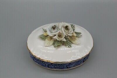 Regal Bone China Trinket Box With China Flowers On Lid • 1£