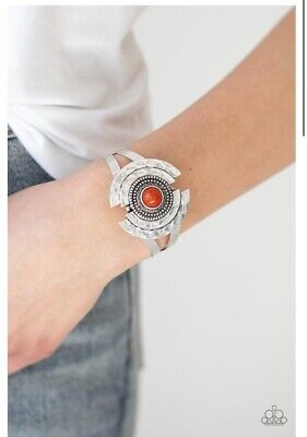 Paparazzi Incredibly Indie Orange Bead Silver Antiqued Cuff Bracelet • 3.26£