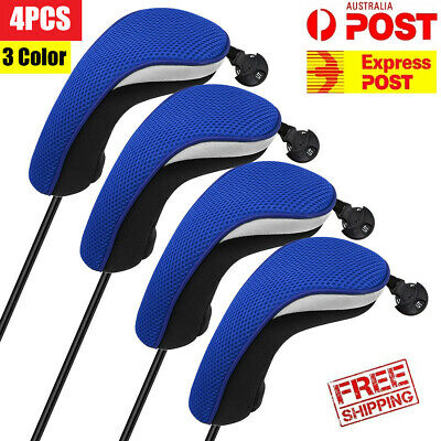 AU34.99 • Buy Golf Club Wood Head Covers Hybrid 4PCS/Set Headcovers Protecter Blue Red Black