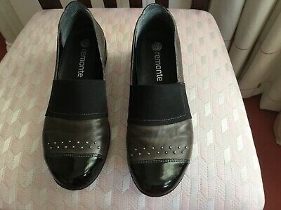 Remonte Ladies Pewter  And Patent Leather Shoes - Size 37 - Stud Embellishments • 7£