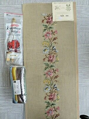IVO Trammed Needlepoint Tapestry Kit Bell Pull Floral With Wool And Metal Ends  • 29.99£