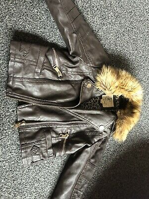 Girls River Island Leather Coat With Fur Trim 12-18 Months • 4£