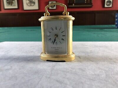 LONDON CLOCK CO QUARTZ Alarm BRASS CARRIAGE CLOCK • 8£