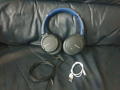 Sony Wireless MDR-ZX770BN Noise Cancelling Headphones With Bluetooth Black/Blue • 17£