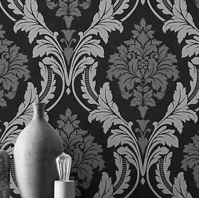 X2 Rolls Rasch Glam Black & Silver Glitter Damask Luxury Wallpaper 541663 • 15£