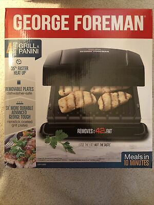 George Foreman 4 Serving Removable Plate Electric Indoor Grill Panini Press NEW  • 23£