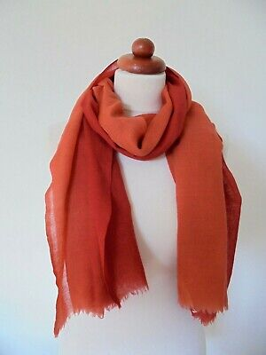 Seasalt - A Beautiful Large Scarf In Finest Soft Wool- Burnt Orange Ombre • 5.55£