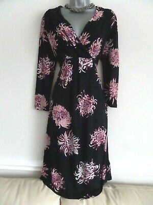 Rjr John Rocha Gorgeous Black & Pink Floral Stretchy Jersey Midi Dress Size 16 • 6.99£