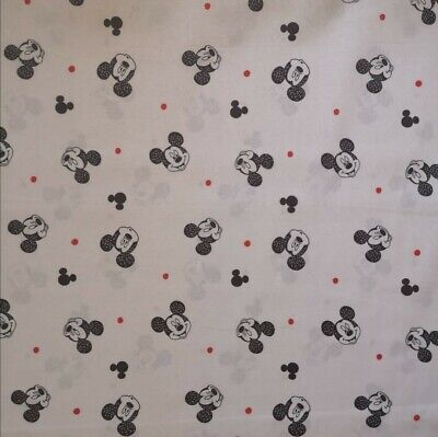 100% Cotton Fabric Mickey Mouse White Background By The Metre • 8.60£