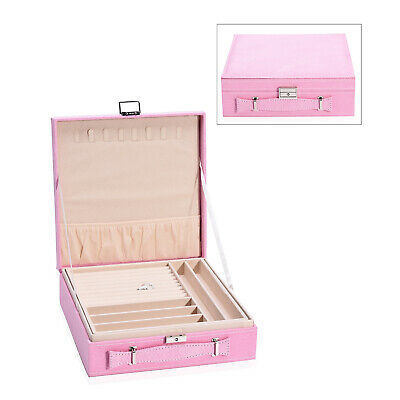 Pink Faux Velvet 2 Tier Jewelry Box Anti Tarnish Scratch Protection Interior • 23.25£
