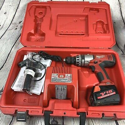 Milwaukee 1/2  Hammer Drill 0824-20 Charger Case Side Handle Manual Battery 18V • 42.16£