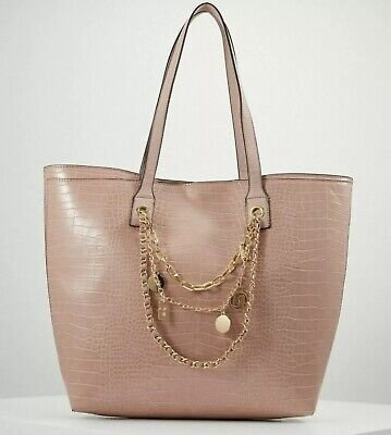 Large Pink River Island Shopping Tote Bag With Gold Charm Chain Embellishment • 15.99£