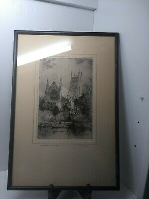 Pencil Signed Etching Of Worcester Cathedral By F Robson Mounted & Framed C1920 • 12.95£