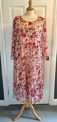 M&S Collection - Ladies Ivory Mix Tiered Midi Dress - Size 16 • 8.50£
