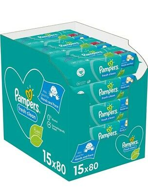 Pampers Fresh Clean Baby Wipes 15x80 Total 1200 Wipes Bulk Buy New Sealed Uk  • 23.99£