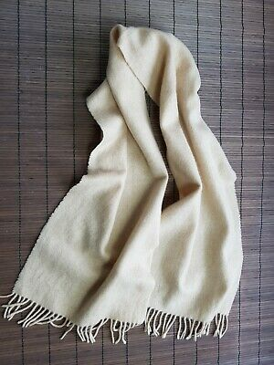 100% Pure Cashmere Womens Mens Unisex Shawl Scarf Light Beige Woven 678 • 16.99£