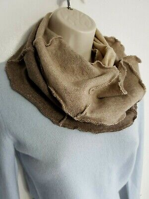 100% Pure Cashmere Cowl Shawl Scarf Snood Beige Handmade Recycled 680 • 16.99£
