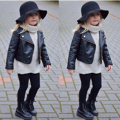 Autumn Winter Kids Baby Boys Girls Leather Jacket Short Overcoat Clothes Outwear • 15.99£